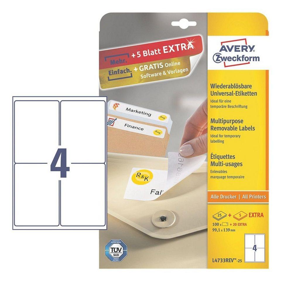 Avery Zweckform 100er-Pack Universal Klebeetiketten »L4733REV-25«