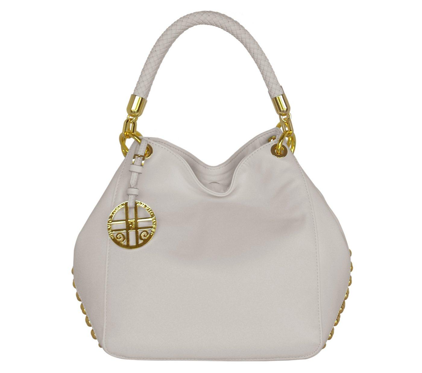 Damen Silvio Tossi  Lederhandtasche mit Schlüsselanhänger weiß | 00634154734209