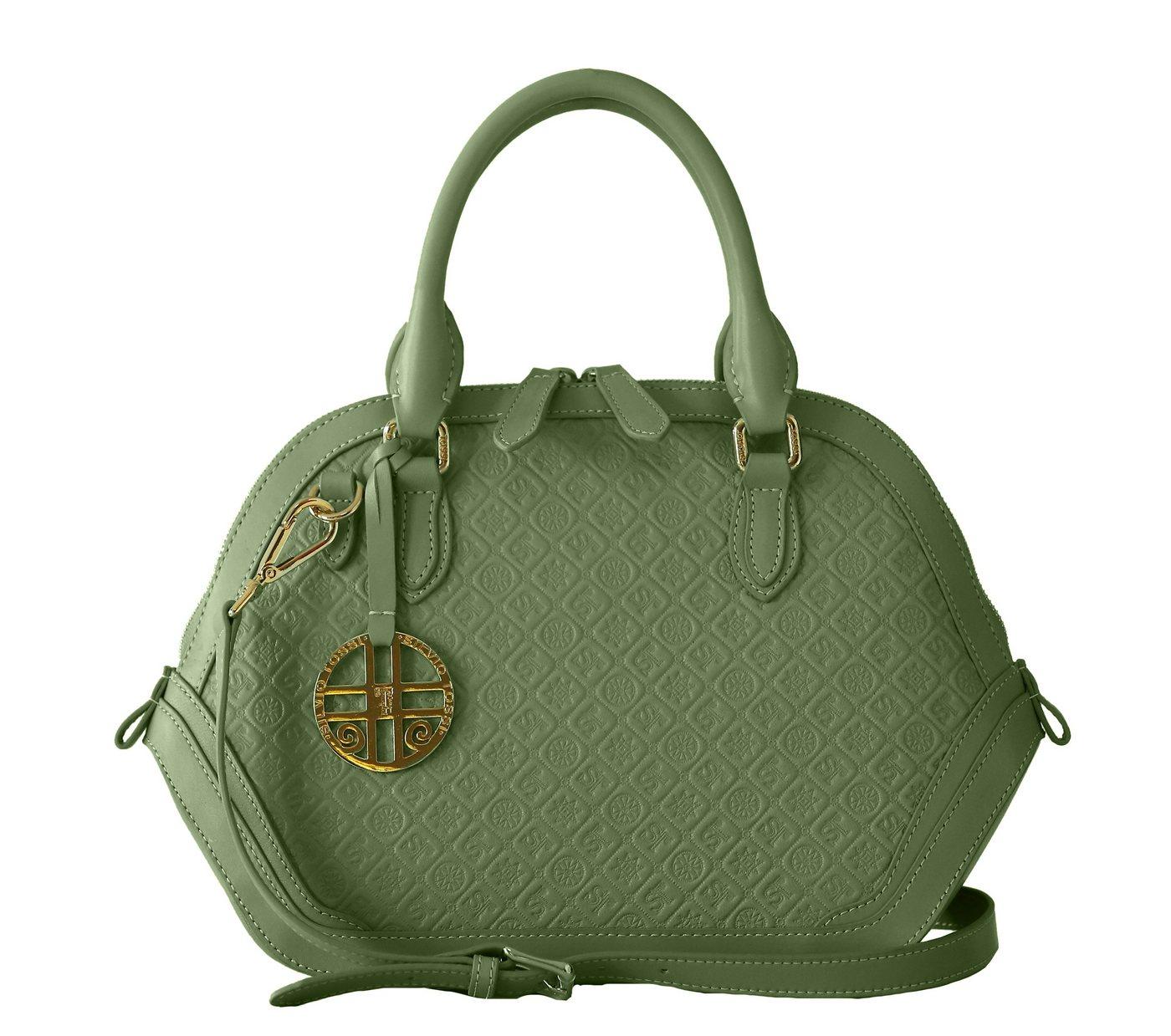 Silvio Tossi Lederhandtasche mit Markenprägung | Taschen > Handtaschen > Ledertaschen | Grün | Baumwolle | Silvio Tossi