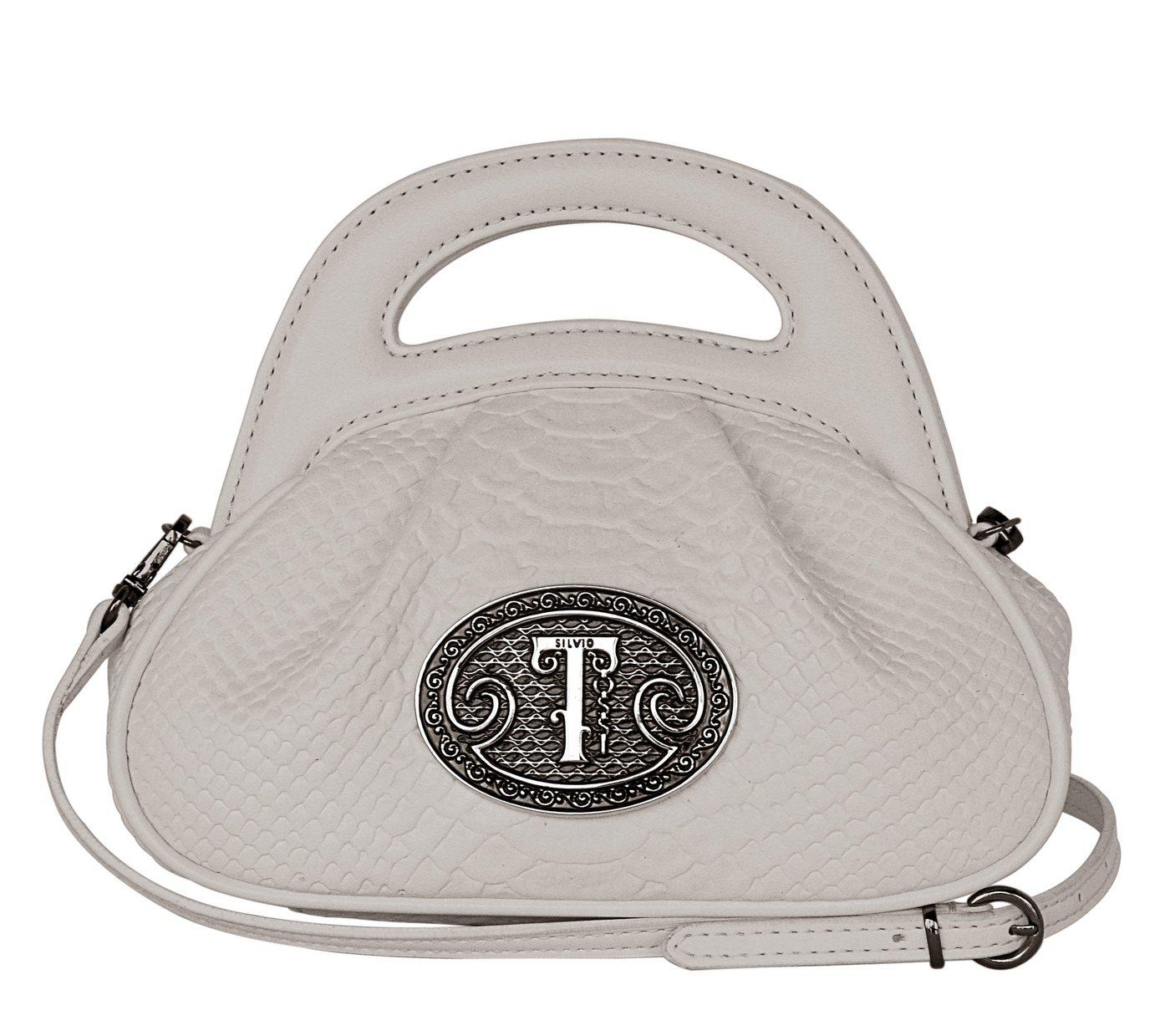 Silvio Tossi Lederhandtasche mit Anaconda-Prägung | Taschen > Handtaschen > Ledertaschen | Weiß | Baumwolle | Silvio Tossi