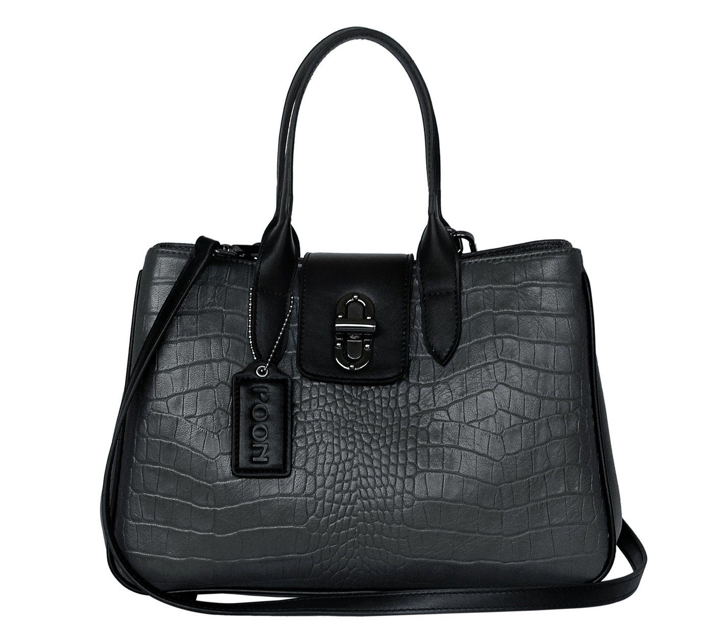 POON Switzerland Lederhandtasche mit Tragegriffen | Taschen > Handtaschen > Ledertaschen | Grau | Baumwolle | POON Switzerland