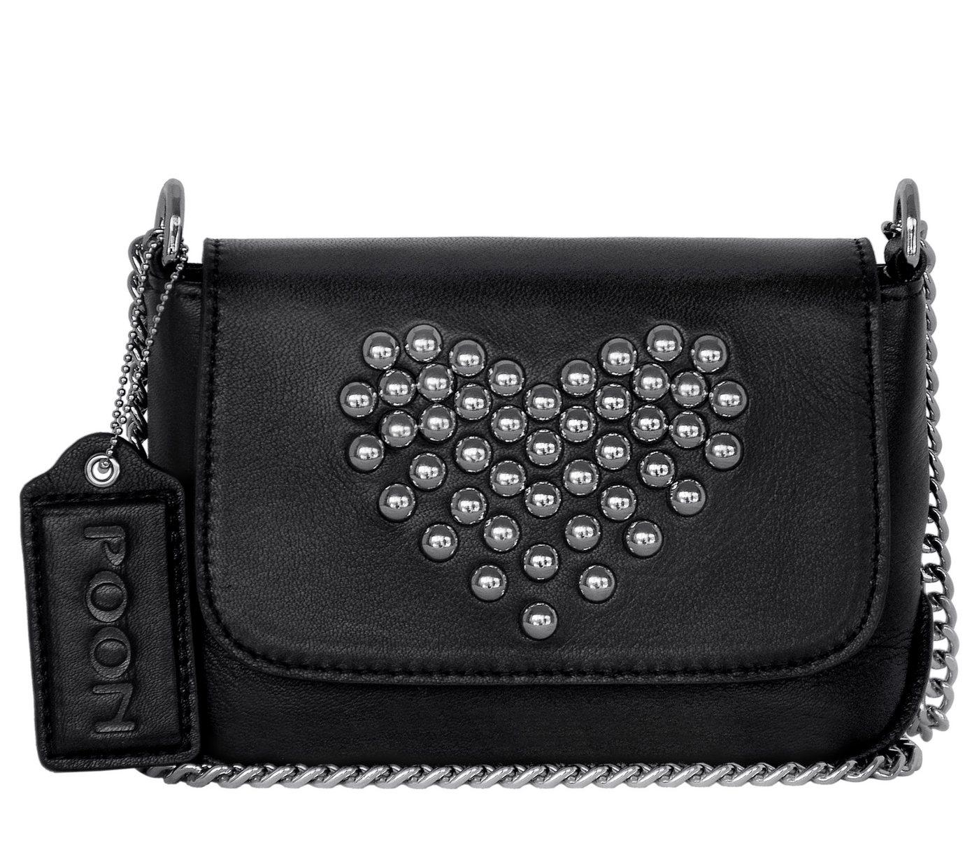 POON Switzerland Leder-Schultertasche mit Herz-Motiv | Taschen > Handtaschen > Ledertaschen | Schwarz | POON Switzerland