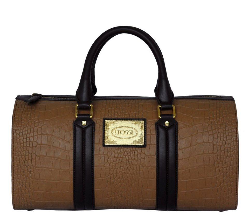 silvio tossi lederhandtasche mit krokodil pr gung dank zwei taschengriffen bequem zu tragen. Black Bedroom Furniture Sets. Home Design Ideas