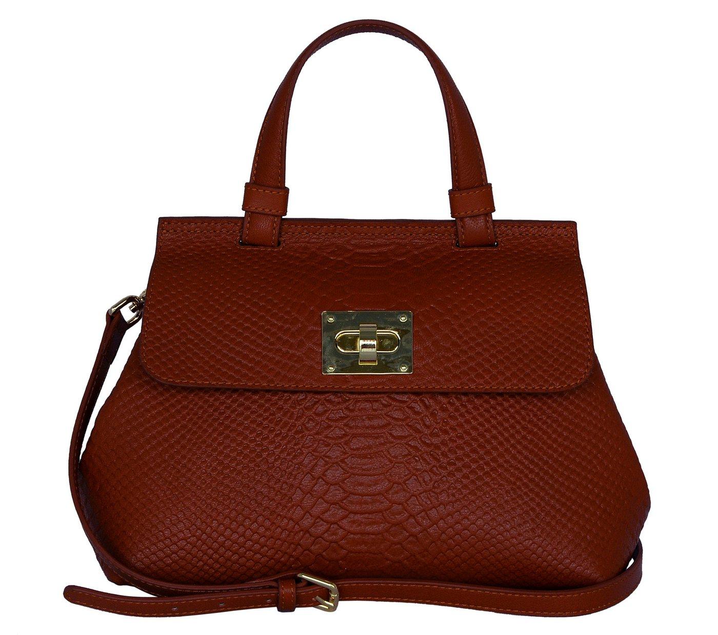 Silvio Tossi Lederhandtasche mit Anakonda-Prägung | Taschen > Handtaschen > Ledertaschen | Rot | Baumwolle | Silvio Tossi