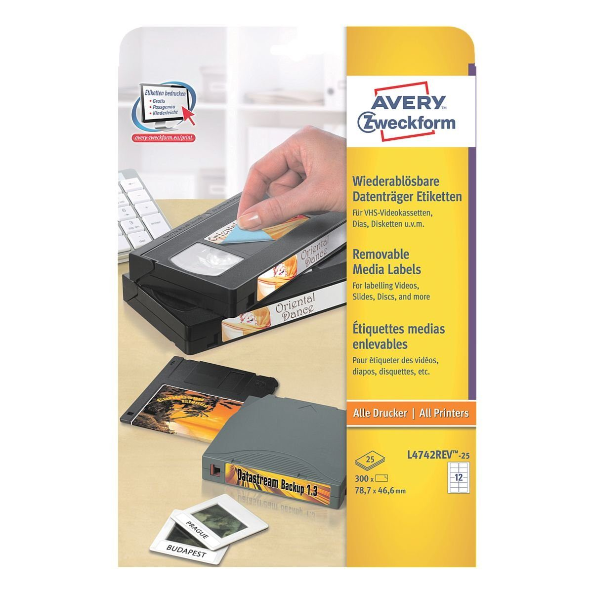 Avery Zweckform 300er-Pack Video-Etiketten »L4742REV-25«