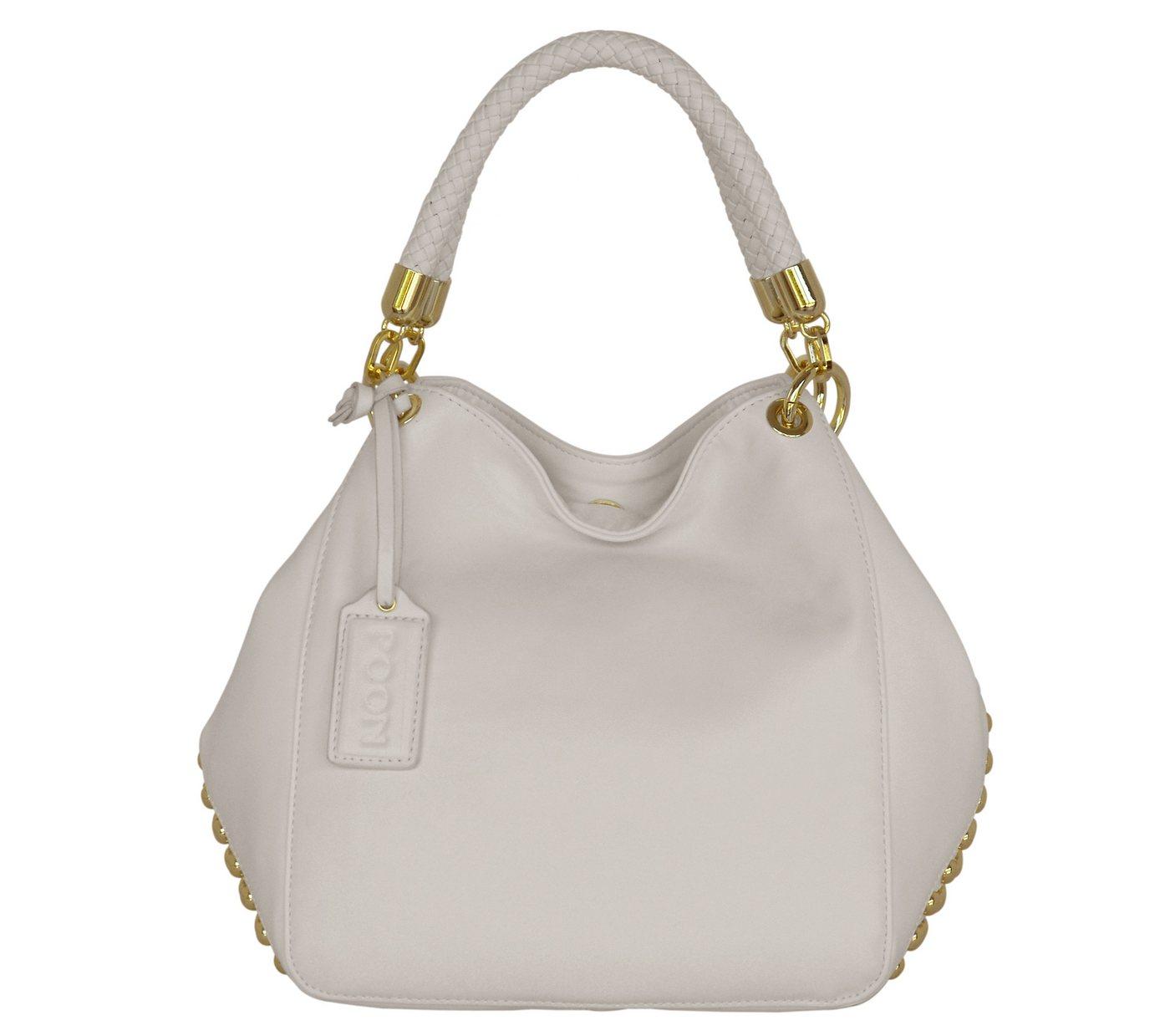 POON Switzerland Lederschultertasche mit Spezialschutzschicht | Taschen > Handtaschen > Ledertaschen | Weiß | Baumwolle | POON Switzerland