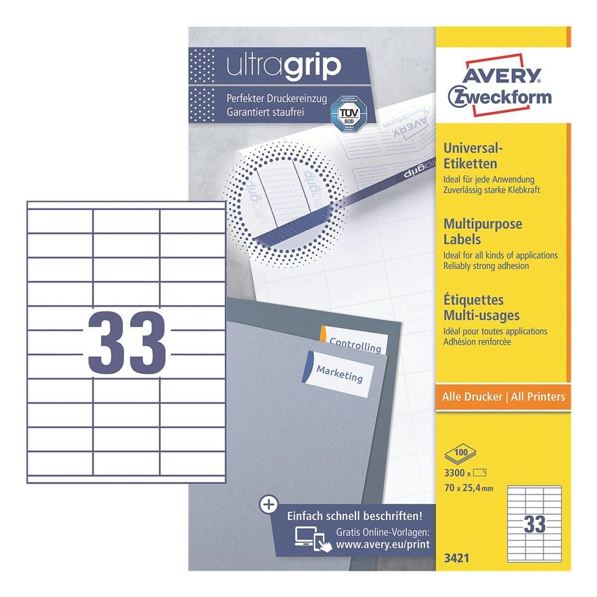 Avery Zweckform 3300er-Pack Universal Klebeetiketten »3421«