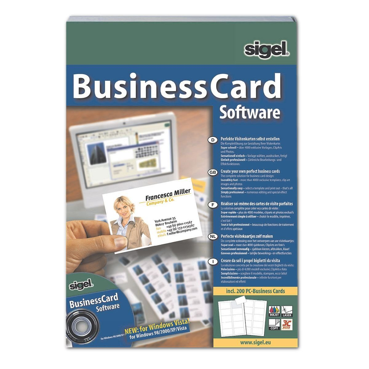 Sigel BusinessCard Software SW670, Software für Visitenkarten