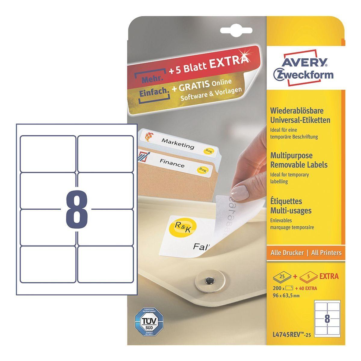 Avery Zweckform 240er-Pack Universal Klebeetiketten »L4745REV-25«