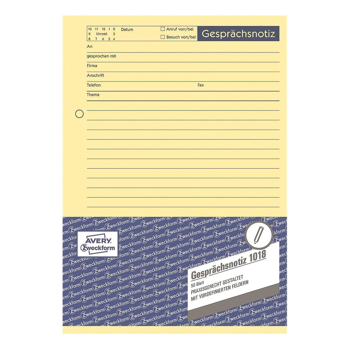 Avery Zweckform Formularvordrucke »Gesprächsnotiz«