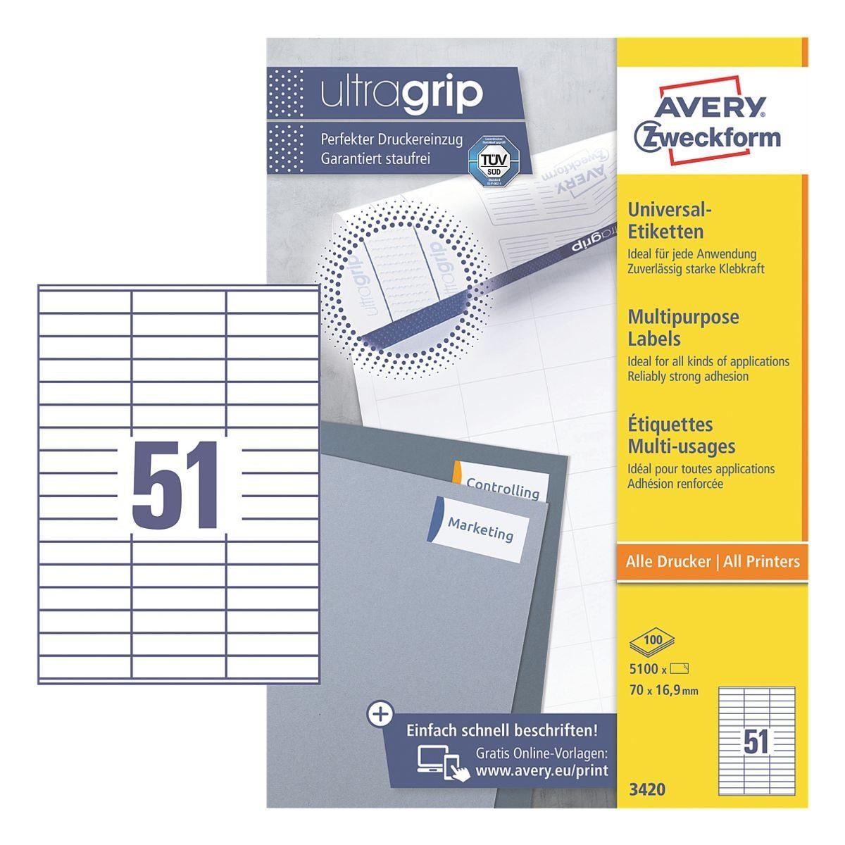 Avery Zweckform 5100er-Pack Universal Klebeetiketten »3420«