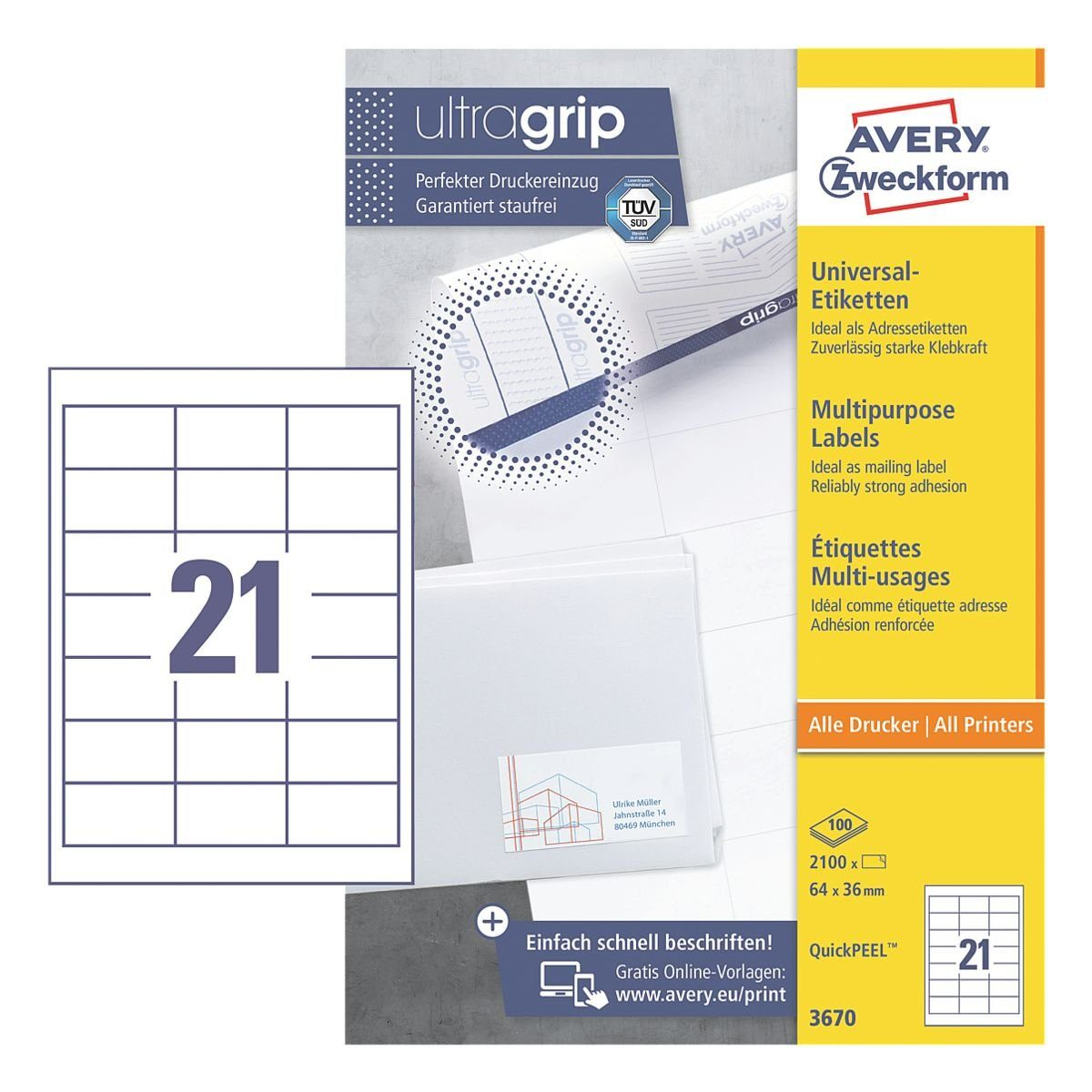Avery Zweckform 2100er-Pack Universal Klebeetiketten »3670«