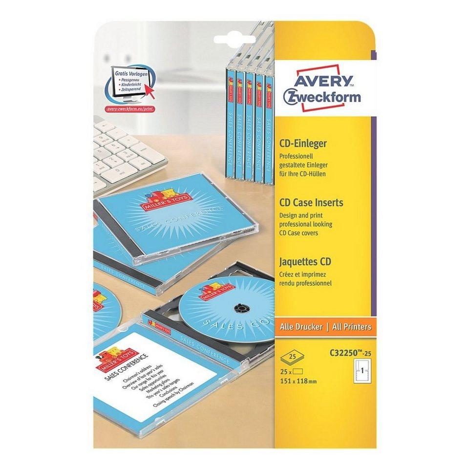 Avery Zweckform 25er-Pack CD-Einleger »C32250-25« in 20827