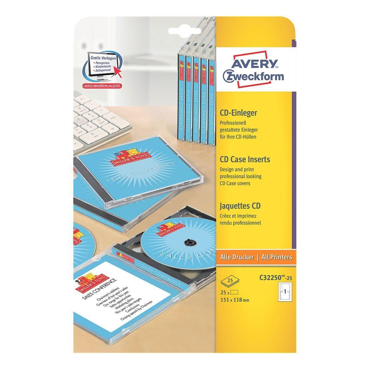 Avery Zweckform 25er-Pack CD-Einleger »C32250-25«