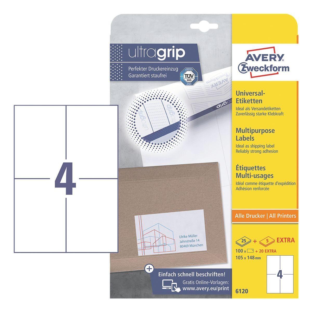 Avery Zweckform 120er-Pack Universal Klebeetiketten »6120«