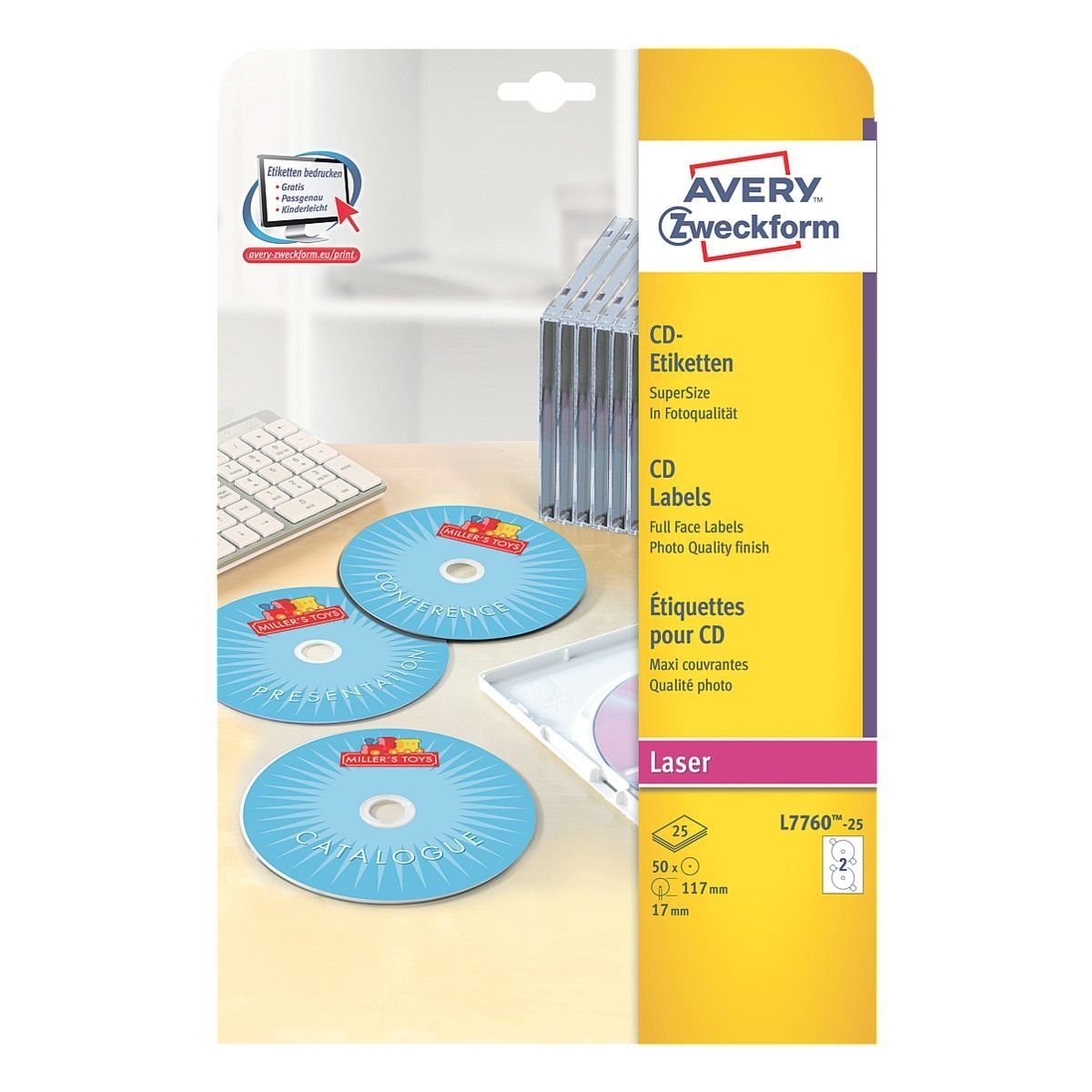 Avery Zweckform 50er-Pack CD-/DVD-Label »L7760-25«