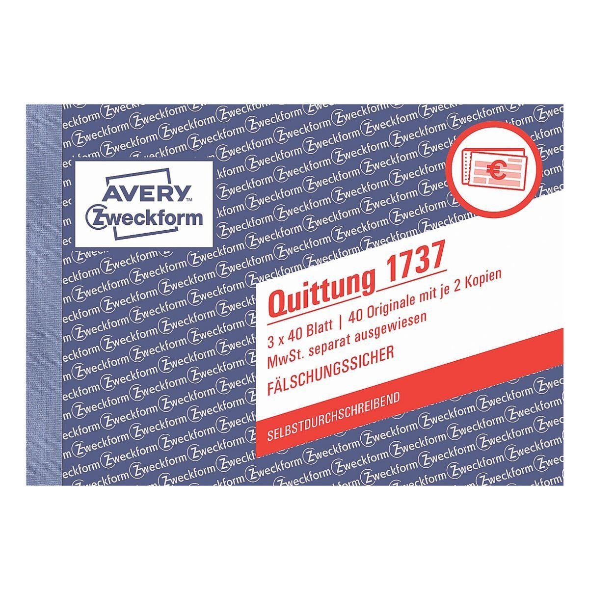 Avery Zweckform Formularbuch »Quittung, MwSt. separat mit Netto-Brutto«