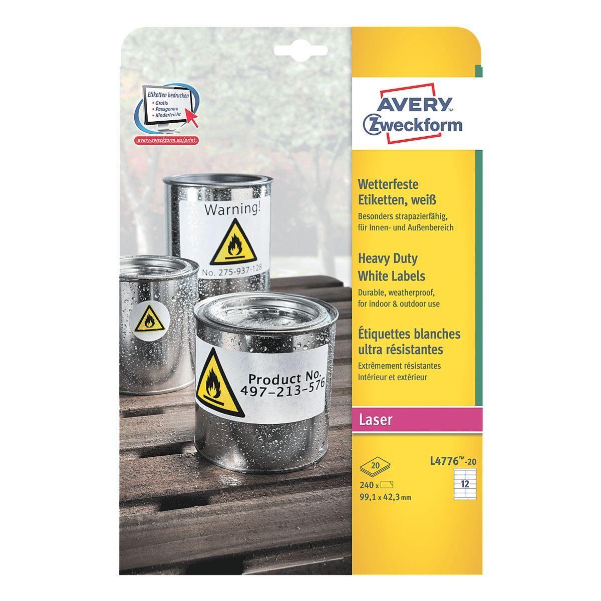 Avery Zweckform 240er-Pack Folien-Etiketten »L4776-20«