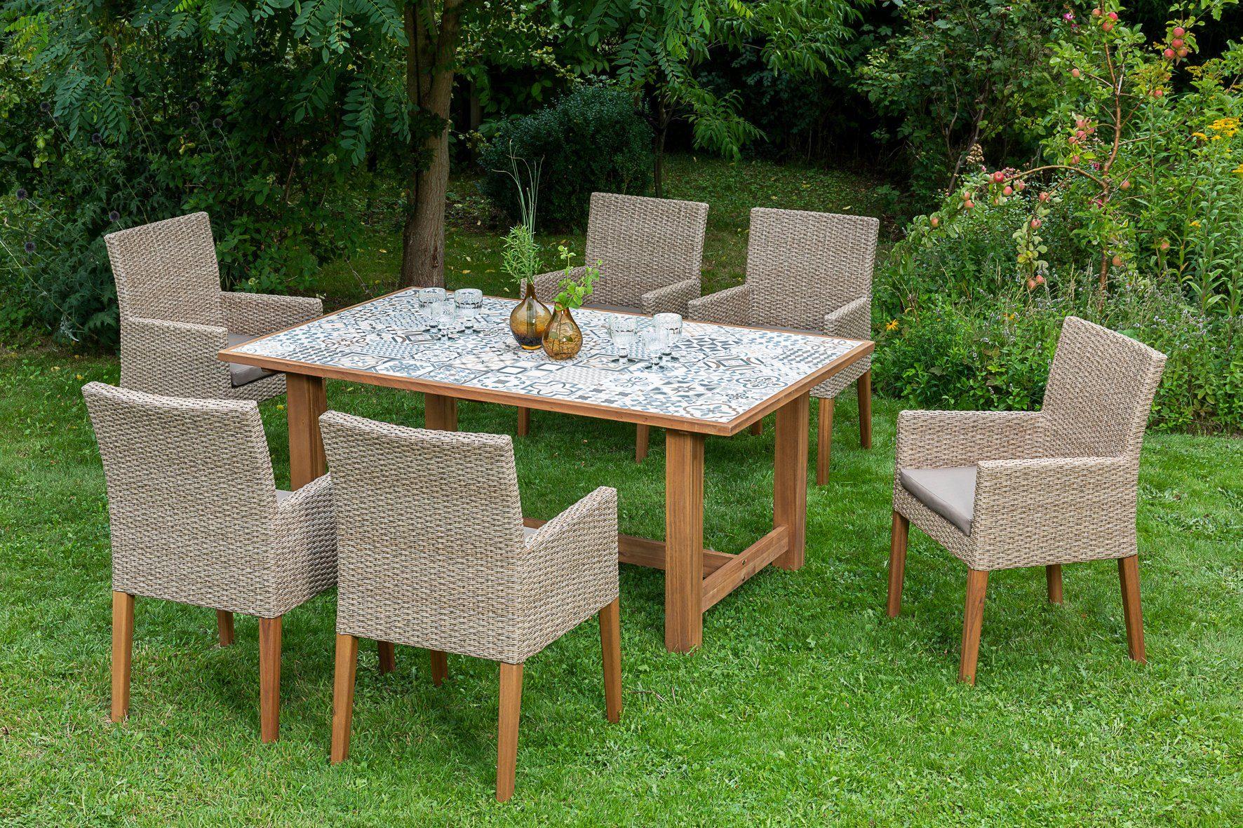 MERXX Gartenmöbelset »Torino«, 13-tlg., 6 Sessel, Tisch 172x105 cm, Polyrattan/Akazie