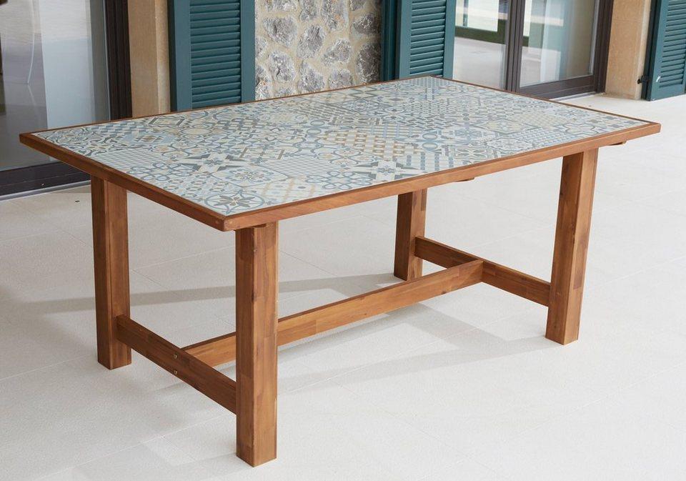 MERXX Gartentisch »Torino«, Keramikfliesentisch, Akazie