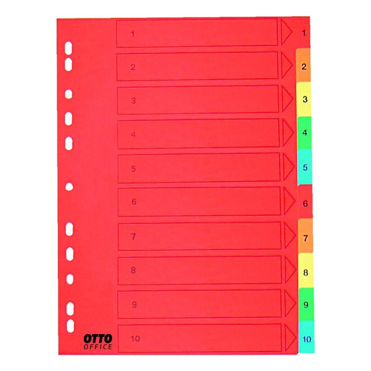 OTTO Office Premium Kartonregister 1-10 A4 farbig