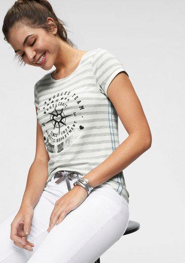 KangaROOS T-Shirt mit großem Metallic-Print vorne
