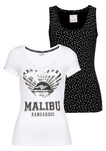 KangaROOS T-Shirt (Set, 2-tlg., mit Top) mit Print, im Set mit Tanktop im Allover-Herzen-Druck