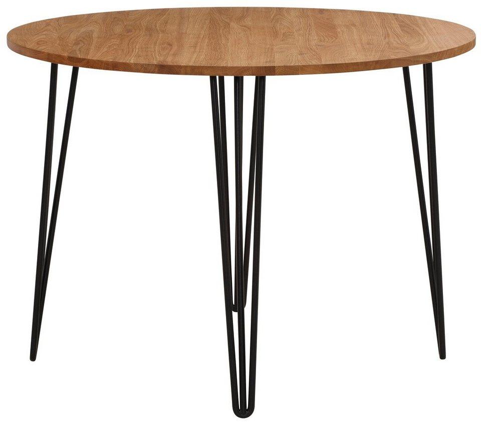 home affaire esstisch hairpin aus massiver eiche mit. Black Bedroom Furniture Sets. Home Design Ideas