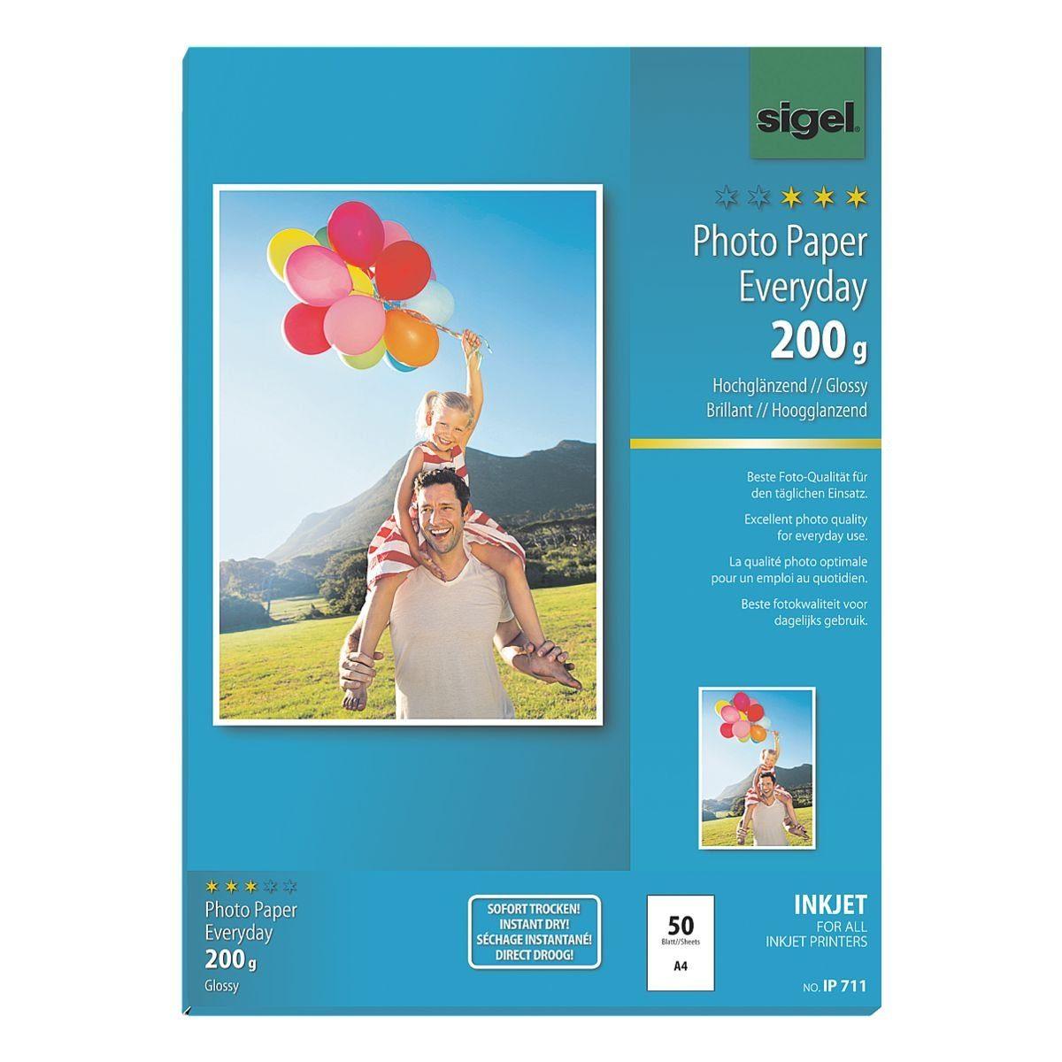 Sigel Foto Inkjet-Papier A4 200 g/m² 50 Blatt »Everyday Plus«