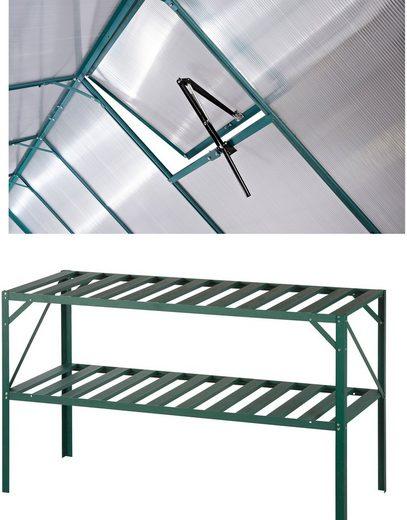 KONIFERA Set: Pflanztisch BxTxH: 126x50x75 cm, Inkl. Fensteröffner, grün