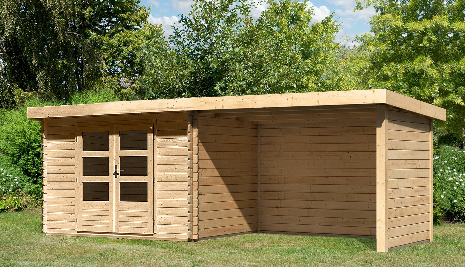 KONIFERA Set: Gartenhaus »Ringköbing 3«, BxT: 632x273 cm, inkl. Anbaudach mit Seiten- und Rückwand