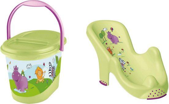 keeeper Badesitz »Kinderpflege-Set Hippo, grün«, Badesitz und Windeleimer
