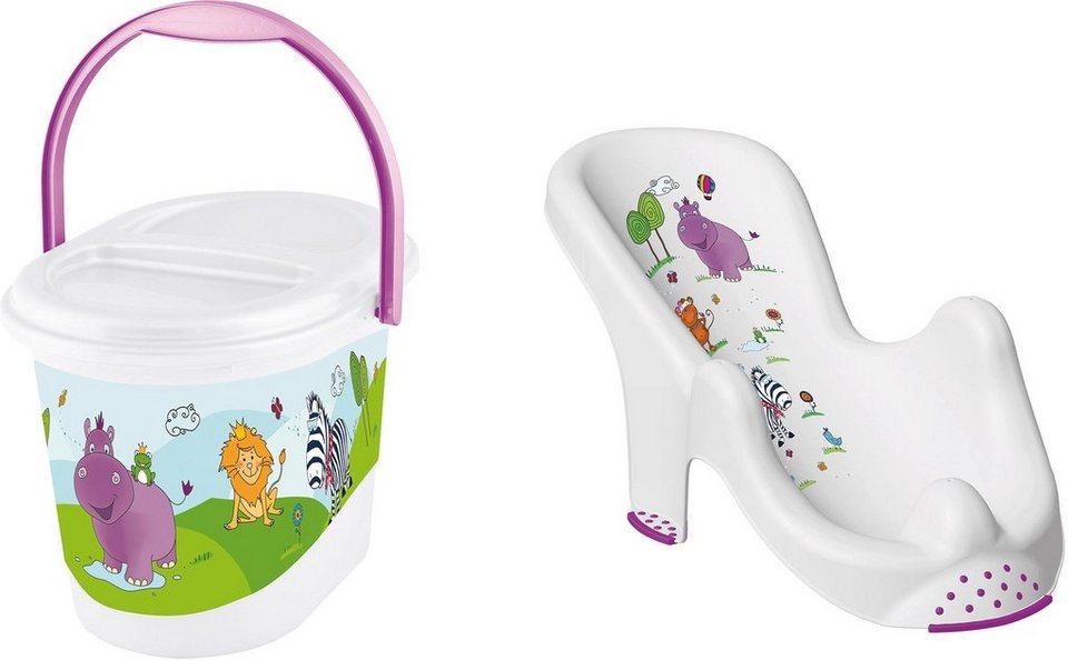 Keeeper 2-tlg. Kinderpflege-Set Beste. aus Badesitz und Windeleimer,  Hippo, weiß  online kaufen
