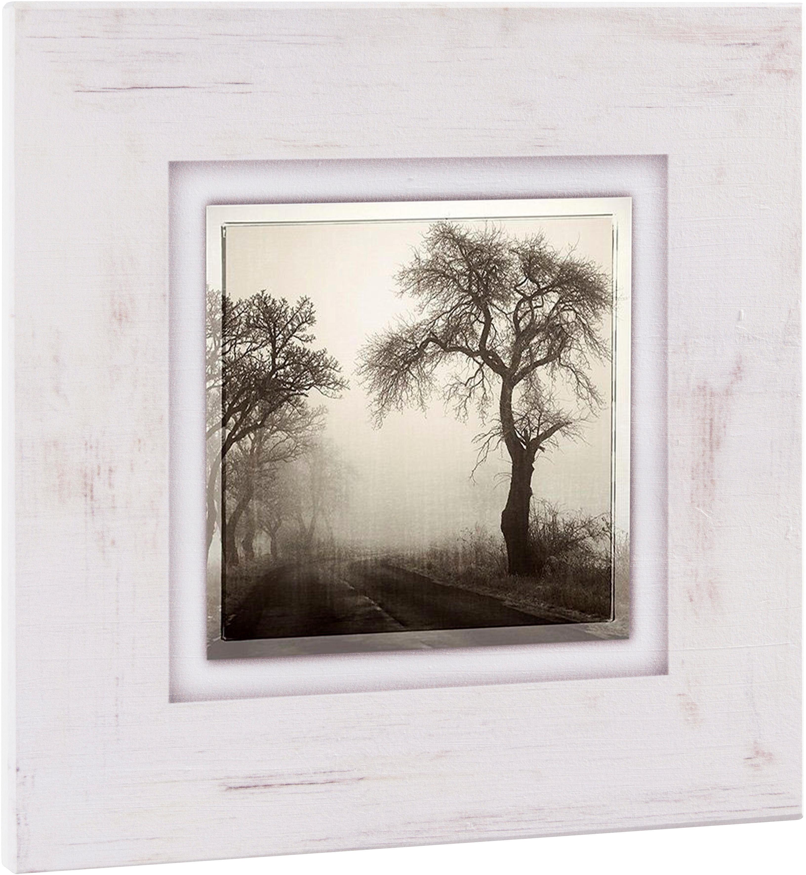 Home affaire Holzbild »Bäume im Nebel«, 40/40 cm