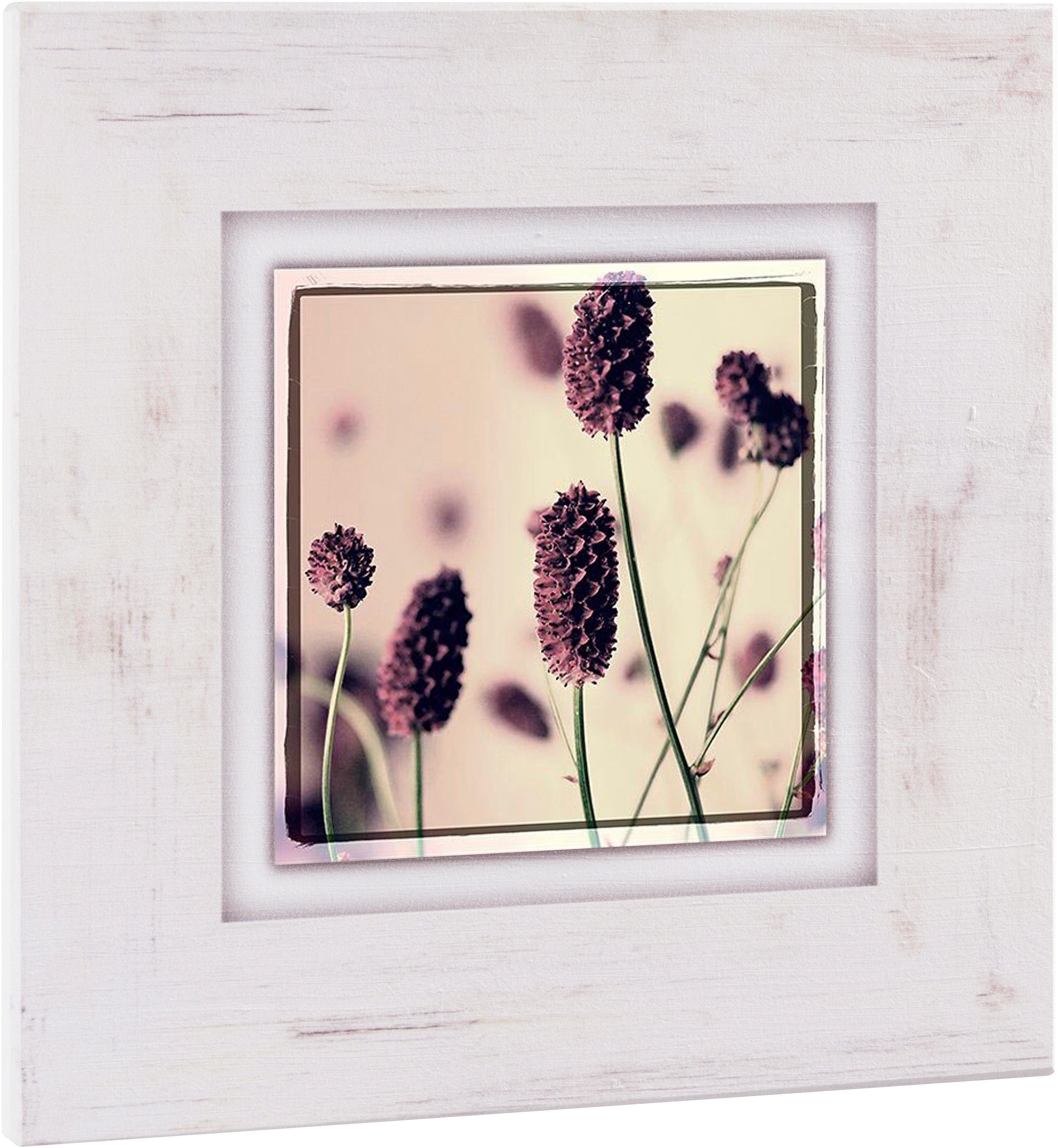 Home affaire Holzbild »Gräser mit Blüten«, 40/40 cm