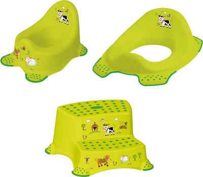 keeeper Töpfchen »Funny Farm«, (Set, 3-tlg), Kinderpflege-Set - Töpfchen, Toilettensitz und Tritthocker; Made in Europe