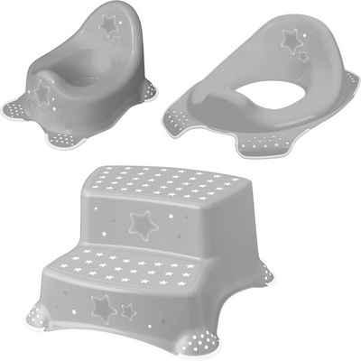 keeeper Töpfchen »Stars, grau«, (Set, 3-tlg), Kinderpflege-Set - Töpfchen, Toilettensitz und Tritthocker; Made in Europe