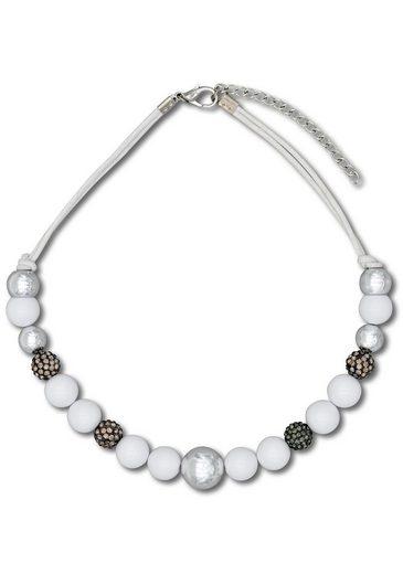 J.Jayz Kette ohne Anhänger »im verschiedenen Perlen-Design aneinander gereiht«, mit Glassteinen und Kunststoffperlen