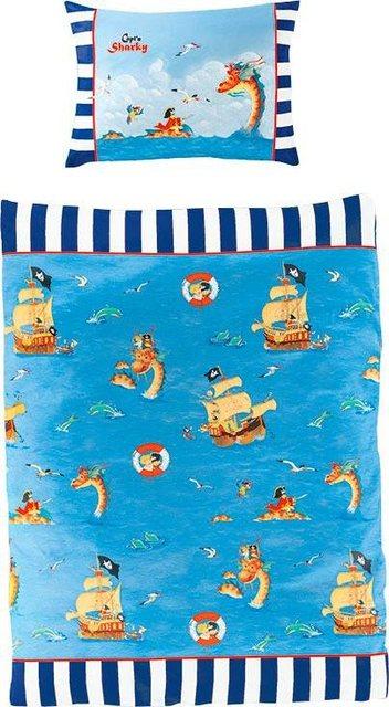 Kinderbettwäsche »Pirat«, Capt`n Sharky, mit GRATIS-Zugabe: Sharkys Liederschatz CD | Kinderzimmer > Textilien für Kinder > Kinderbettwäsche | Baumwolle | Capt`n Sharky
