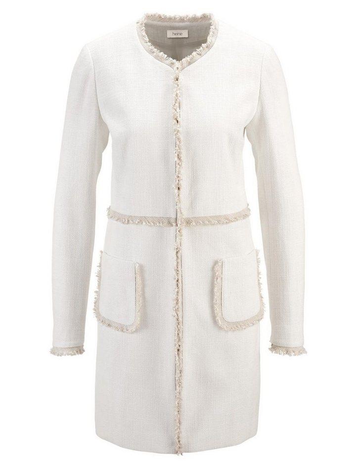heine TIMELESS Longblazer in Boucle-Qualität   Bekleidung > Blazer > Longblazer   Weiß   Bouclé - Polyester   heine