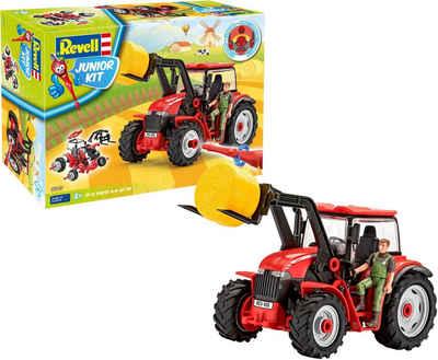 Revell® Modellbausatz »Junior Kit Traktor & Lader, rot mit Figur«, Maßstab 1:20, Made in Europe