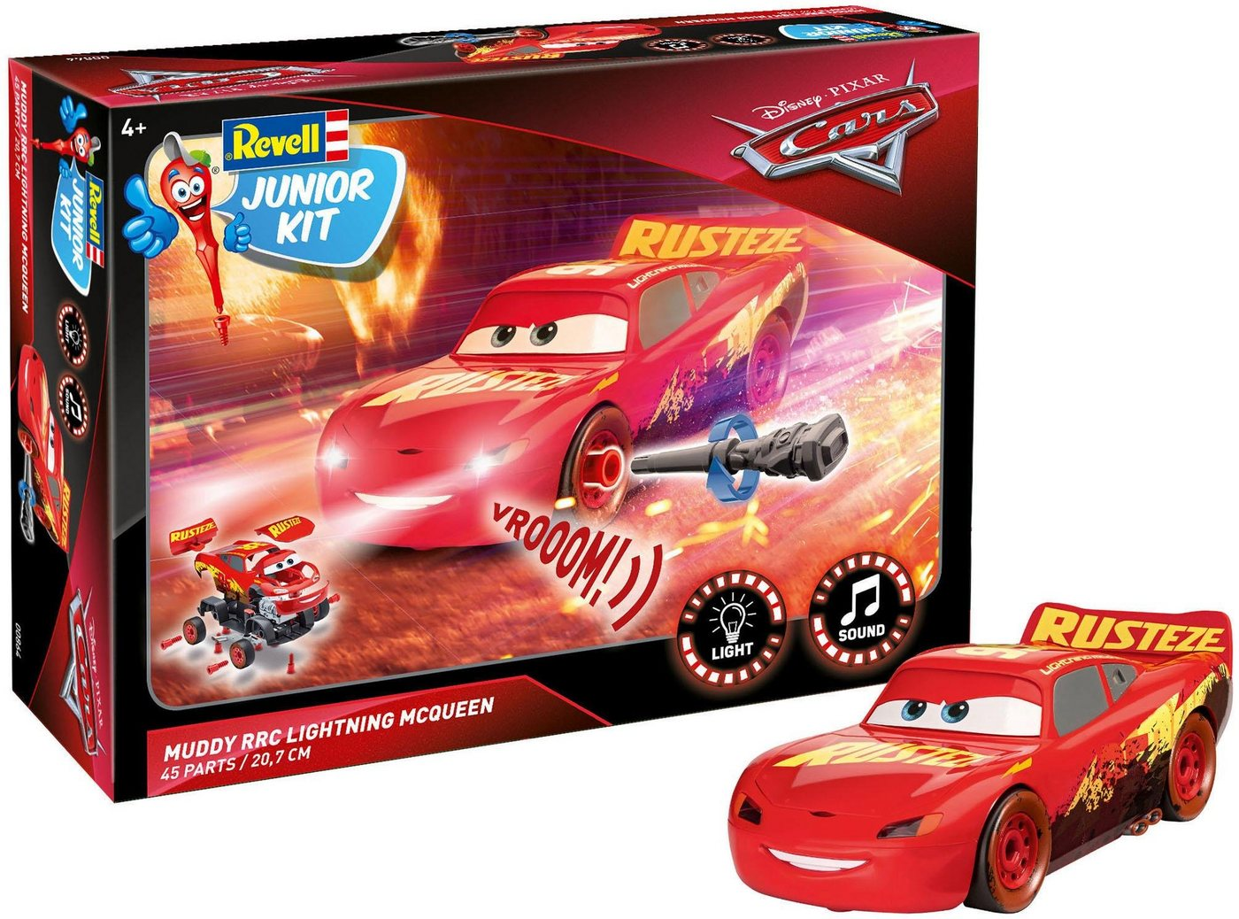 Revell Modellbausatz Auto Licht/Sound, »Junior Kit Disney Pixar Cars, Muddy RRC Lightning McQueen «