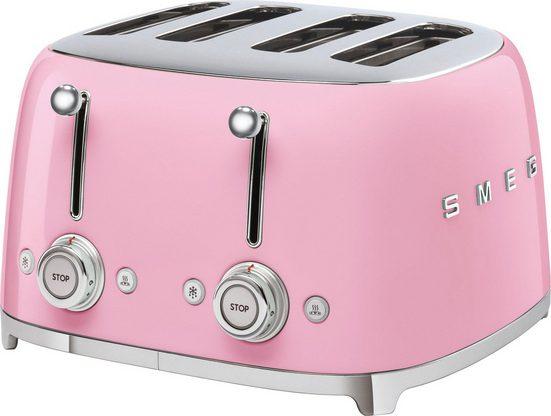 Smeg Toaster TSF03PKEU, 4 kurze Schlitze, 3000 W