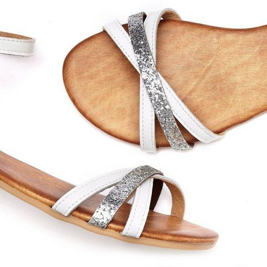 Leder Sandale Metallic Mit Lascana Aus effekt EzaqO6OnvW