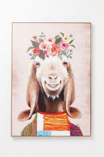 KARE Leinwandbild »Flowers Goat«, teilweise handgemalt