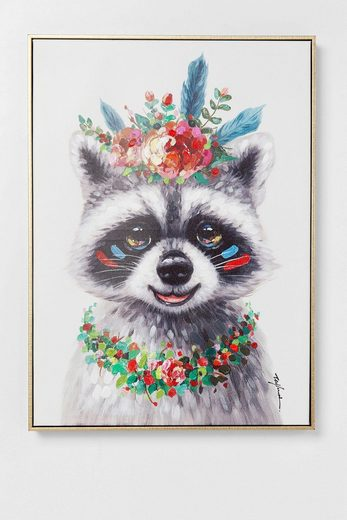 KARE Leinwandbild »Flowers Raccoon«, teilweise handgemalt
