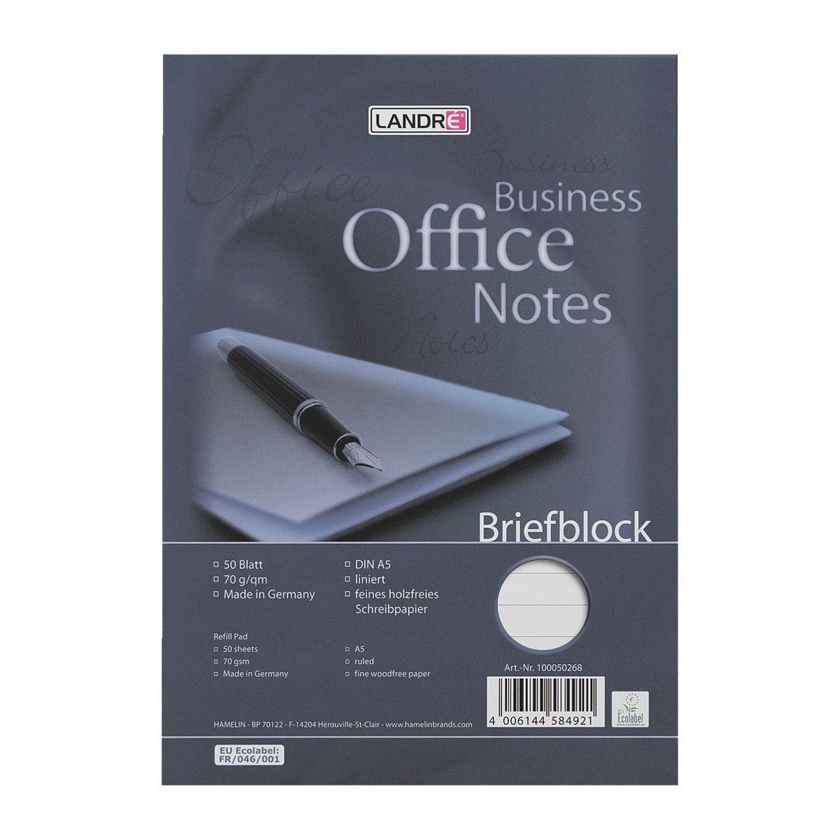 Landré Briefblock A5 liniert »Work«