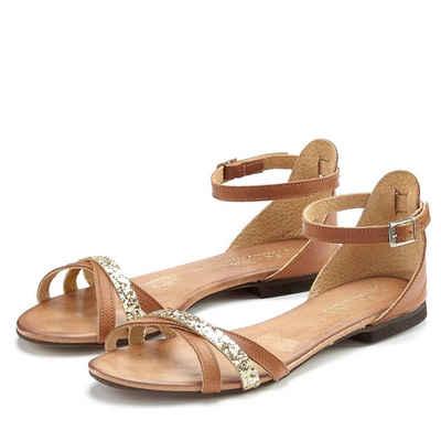 0cf0b32fa1cba8 LASCANA Sandale aus Leder mit Glitzer-Riemchen