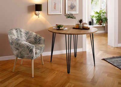 Home affaire Esstisch »Hairpin«, aus massiver Eiche, mit Metallbeinen, Breite 100 cm