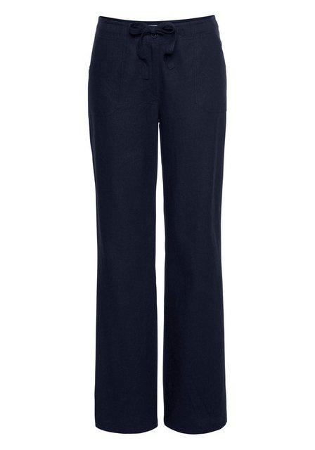Hosen - Aniston CASUAL Leinenhose mit Bindeband › blau  - Onlineshop OTTO